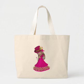 Blond Girl Holding a Pink Rose Jumbo Tote Bag