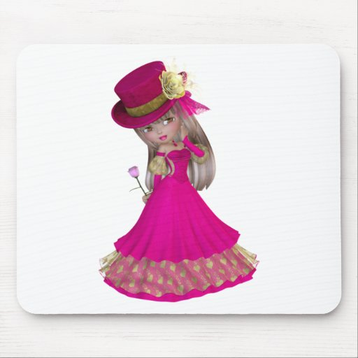 Blond Girl Holding a Pink Rose Mouse Pad