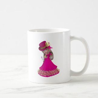 Blond Girl Holding a Pink Rose Coffee Mug