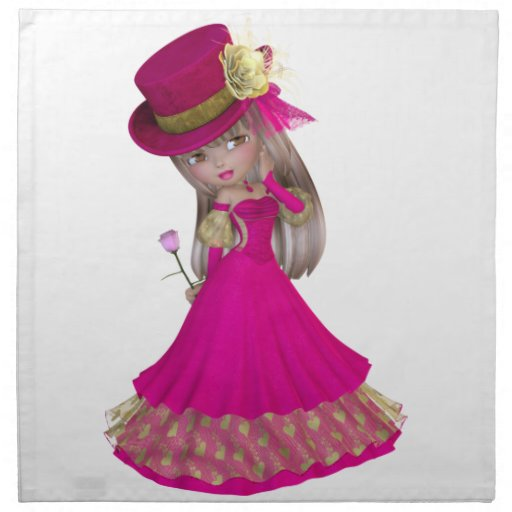 Blond Girl Holding a Pink Rose Cloth Napkin