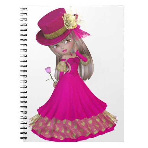 Blond Girl Holding a Pink Rose Spiral Note Book