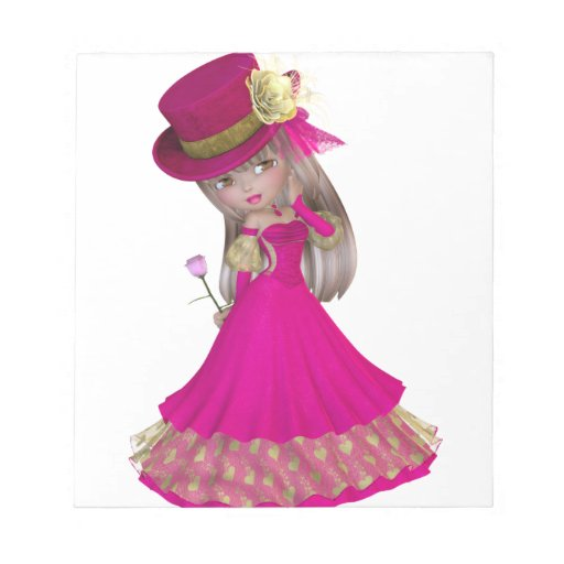 Blond Girl Holding a Pink Rose Notepads
