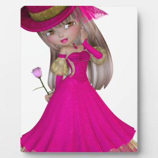 Blond Girl Holding a Pink Rose Photo Plaque