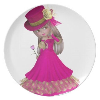 Blond Girl Holding a Pink Rose Dinner Plate