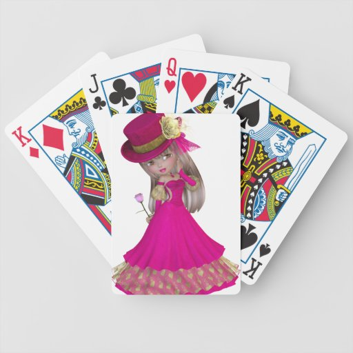 Blond Girl Holding a Pink Rose Bicycle Poker Cards