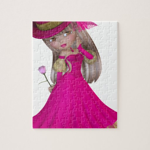 Blond Girl Holding a Pink Rose Jigsaw Puzzles