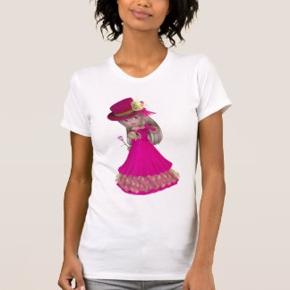 Blond Girl Holding a Pink Rose Shirt