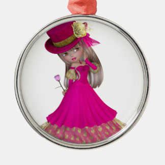 Blond Girl Holding a Pink Rose Silver-Colored Round Decoration