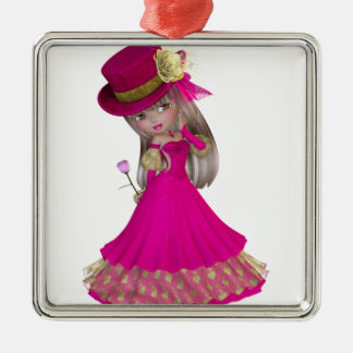 Blond Girl Holding a Pink Rose Silver-Colored Square Decoration