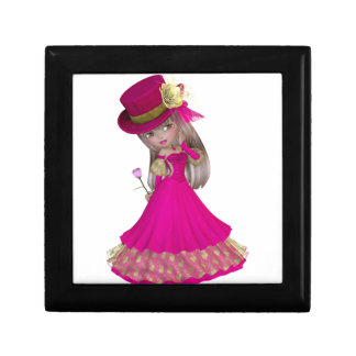 Blond Girl Holding a Pink Rose Small Square Gift Box