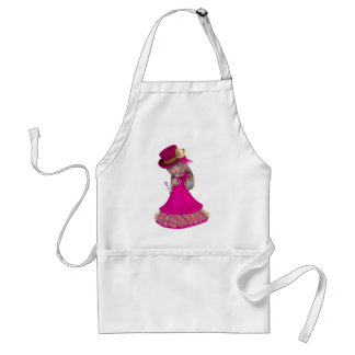Blond Girl Holding a Pink Rose Standard Apron
