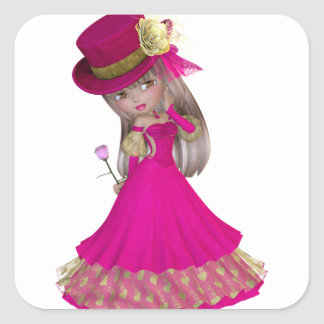 Blond Girl Holding a Pink Rose Square Sticker