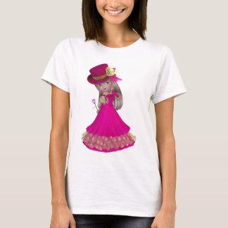 Blond Girl Holding a Pink Rose T-Shirt