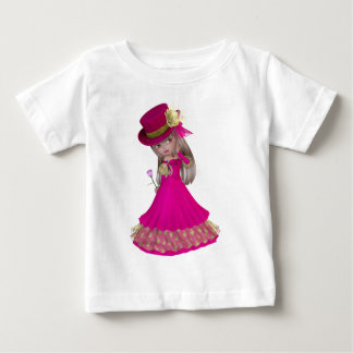 Blond Girl Holding a Pink Rose Tshirt