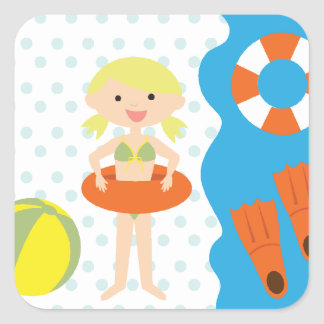Blond Girl Pool Party Square Sticker
