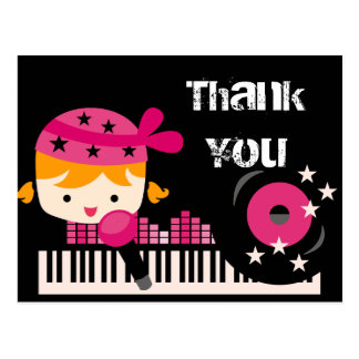 Blond Girl Rock Star Birthday Thank You Postcard