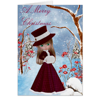 Blond Girl, Snow , Christmas Greeting Card