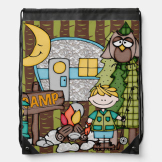 Blond Hair Boy's Camping Adventure Drawstring Bag