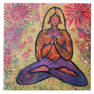 Blond Haired Yoga Girl Tile