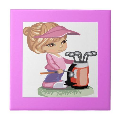 Blond little girl playing golf ceramic tile