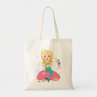 Blond mermaid cartoon girl with starfish seahorse