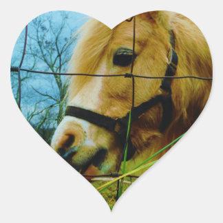 Blond Miniature Pony / Horse Blue Sky Heart Sticker