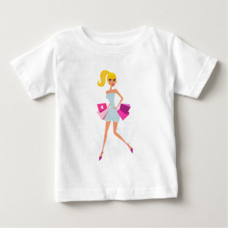 Blond model girl with dots and pink baby T-Shirt