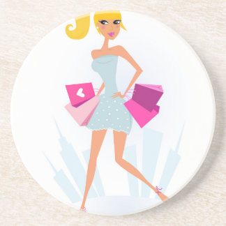 Blond model girl with dots and pink coaster