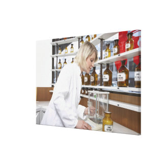 Blond pharmacist working in lab and smiling into canvas print