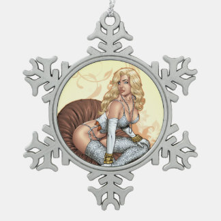 Blond Pinup In Lingerie By Al Rio Pewter Snowflake Decoration