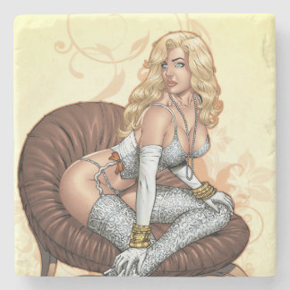 Blond Pinup In Lingerie By Al Rio Stone Coaster