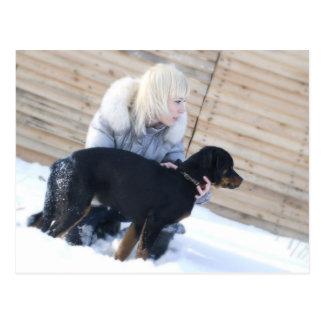 Blond & Puppy Postcard