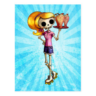 Blond Skeleton Waitress Postcard