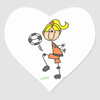 Blond Stick Figure Soccer Player Girl Gifts Heart Sticker