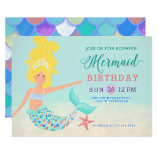 Blond with Fair Skin Mermaid Birthday Party Card