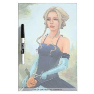 Blond Woman In Blue Dress Illustration Dry Erase Boards