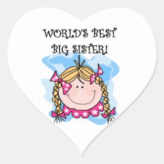 Blond World's Best Big Sister Gifts Heart Sticker