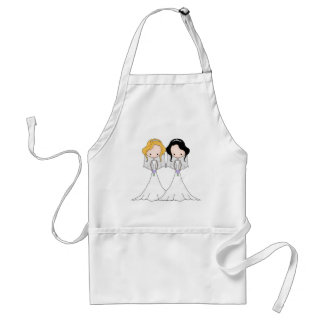 Blonde and Black Haired Brides Lesbian Wedding Aprons