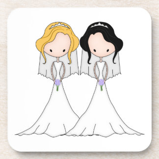 Blonde and Black Haired Brides Lesbian Wedding Beverage Coasters