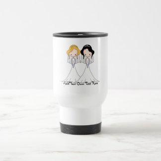 Blonde and Black Haired Brides Lesbian Wedding Travel Mug