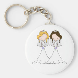 Blonde and Brunette Cartoon Brides Lesbian Wedding Basic Round Button Key Ring