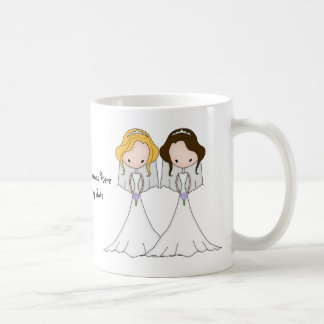 Blonde and Brunette Cartoon Brides Lesbian Wedding Basic White Mug