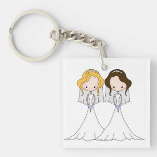 Blonde and Brunette Cartoon Brides Lesbian Wedding Double-Sided Square Acrylic Key Ring