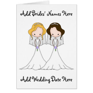 Blonde and Brunette Cartoon Brides Lesbian Wedding Greeting Card