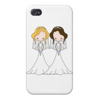 Blonde and Brunette Cartoon Brides Lesbian Wedding Covers For iPhone 4