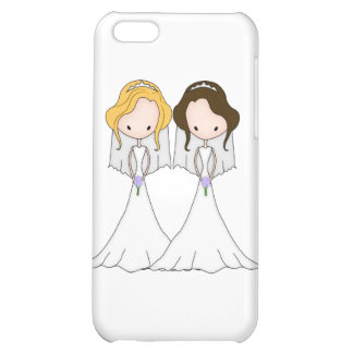 Blonde and Brunette Cartoon Brides Lesbian Wedding iPhone 5C Covers