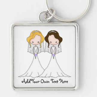 Blonde and Brunette Cartoon Brides Lesbian Wedding Silver-Colored Square Key Ring