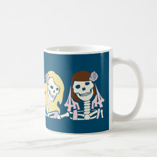 Blonde and Brunette Female Skeleton Couple Coffee Mug