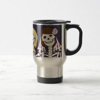 Blonde and Brunette Female Skeleton Couple Travel Mug