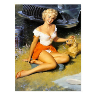 Blonde and Puppy Pin Up Postcard